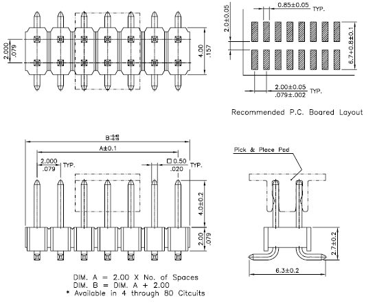 2 00mm pitch pin header smt dip connector   p82 series