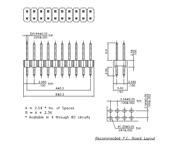 2 54mm pitch pin header dip smt connector   p84 series