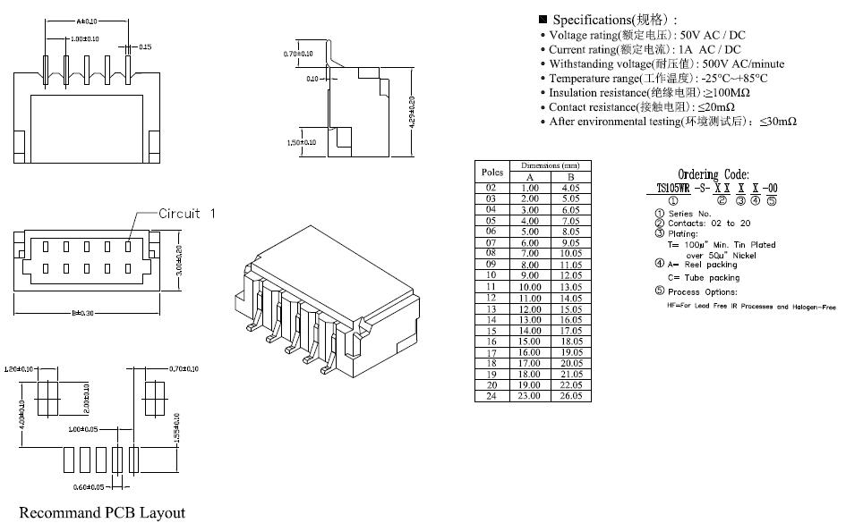 ts105wr-s-xxxx-00 single row smt horizontal wafer