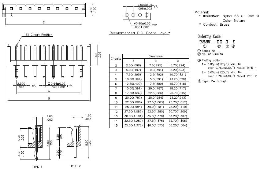 ts252wv-xxxx dip vertical wafer 2 5 wafer